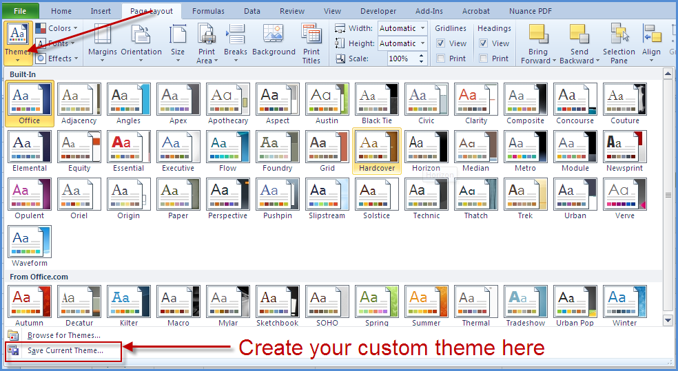 excel 2010 styles and themes