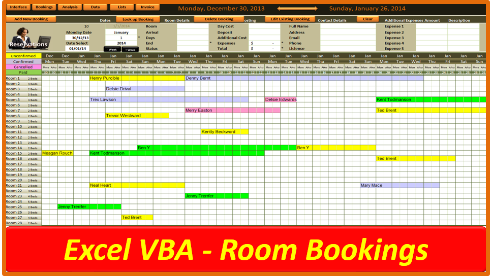 Excel Room Booking System - Online PC Learning