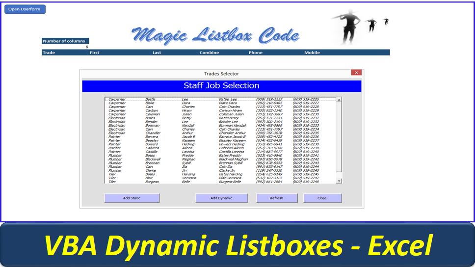 Dynamic Userform Listbox - Listbox VBA Code - Online PC Learning