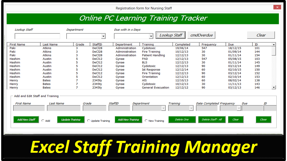 Staff Training Manager Database – Excel Userform - Online PC Learning