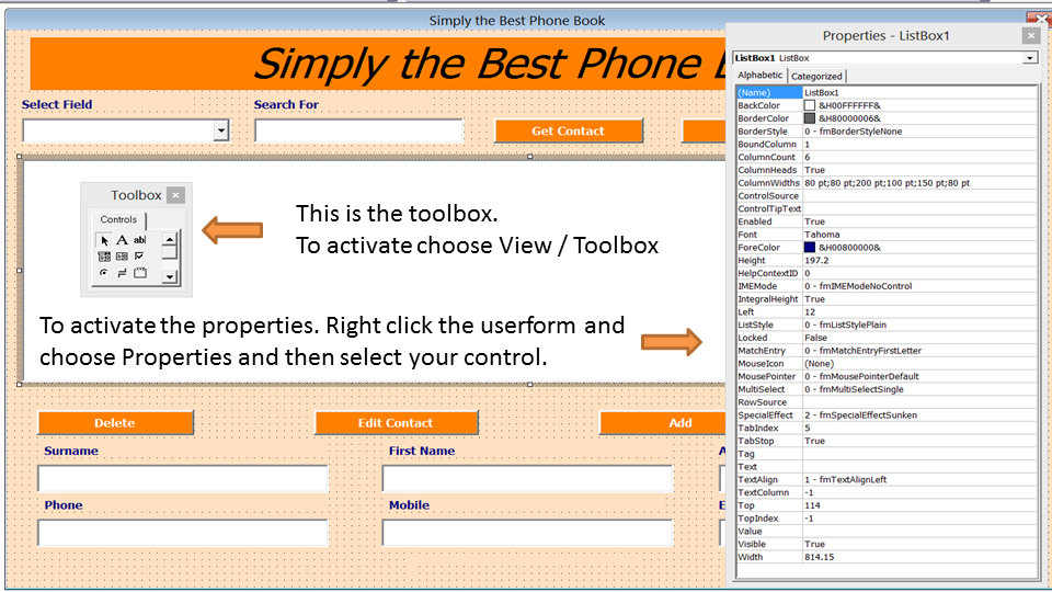 Excel Phone Book - Contact Manager - Excel 2010 - Online PC
