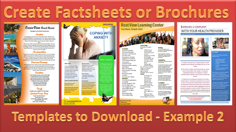 Make a Brochure Factsheet that Rocks Microsoft Word and – Fact Sheet Template
