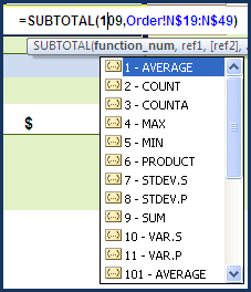 how to add a subtotal to a range