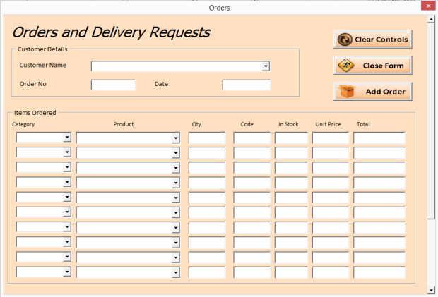 vba excel - order and inventory management - excel 2013 userforms