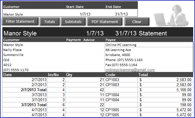 Statement View For Invoice And Inventoty  Creating An Invoice In Excel