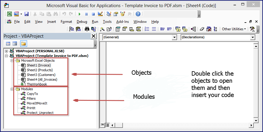 The VBA Editor Has Objects And Modules. This Image Will Easily Show The  Difference.  Pdf Invoice Creator