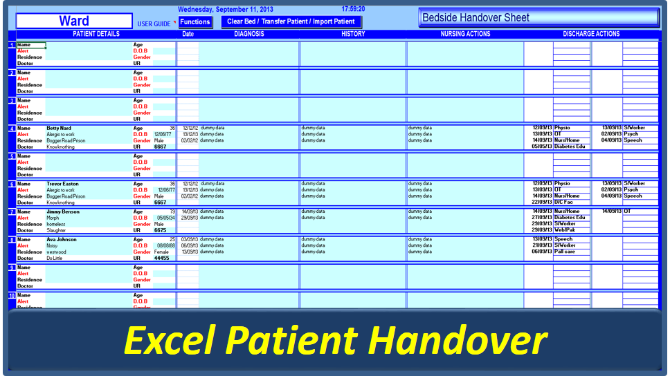 Patient Handover Excel Vba Clinical Handover Excel