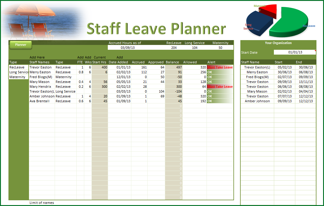Leave Planner - Staff Leave Planner - Online PC Learning