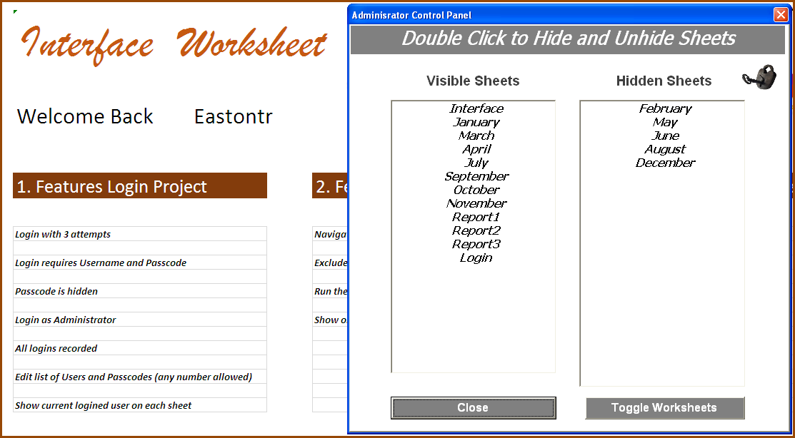 Excel Worksheets in a Userform - Hide and Unhide Worksheets