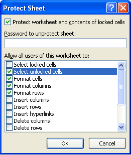 protecting worksheets