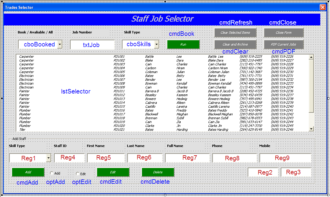 Staff Job Allocator Database - Excel Userform Database - Online PC