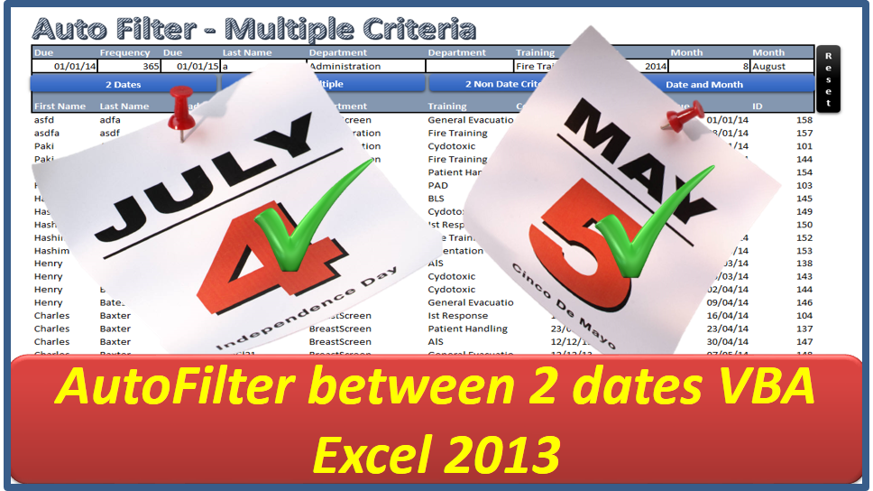 Auto Filter Between Dates - Excel VBA - Online PC Learning