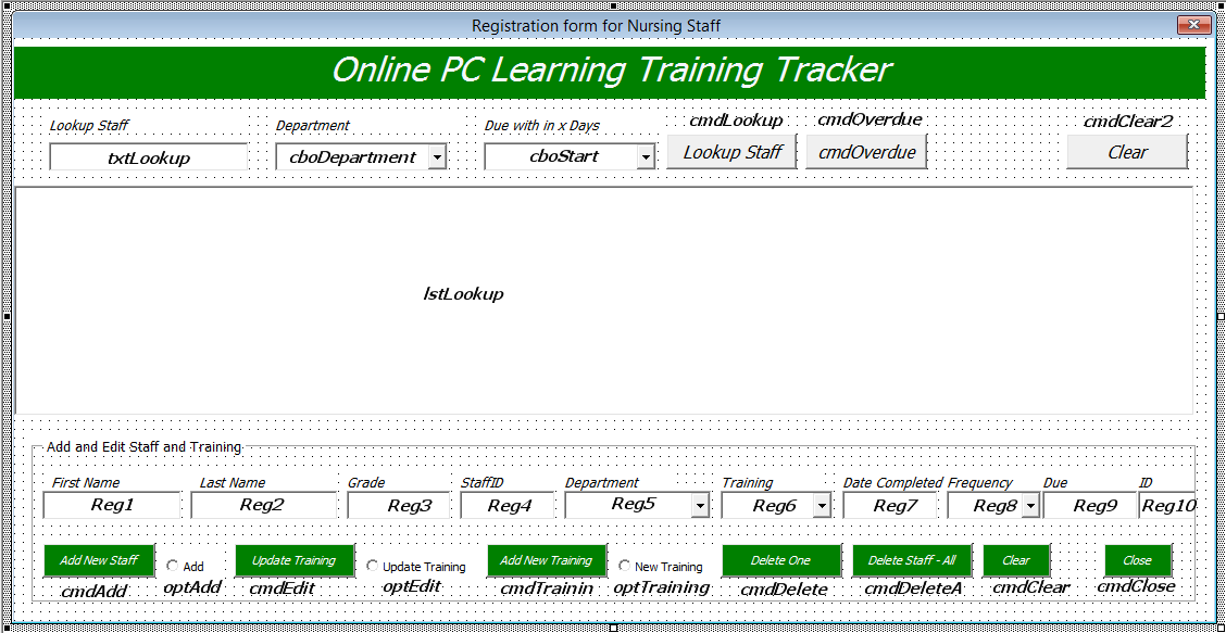 Staff Training Manager Database Excel Userform Online Pc Learning