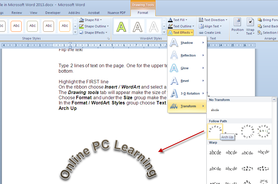Text Circle in Microsoft Word- Text in a Circle - Online PC Learning