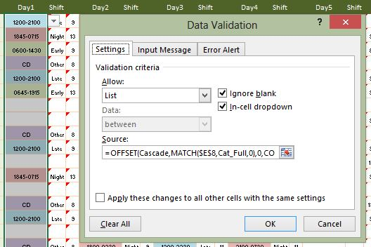 Cascading Data Validation