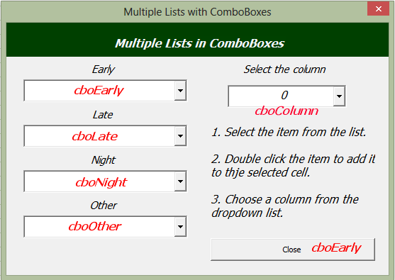 Multiple Lists in ComboBoxes