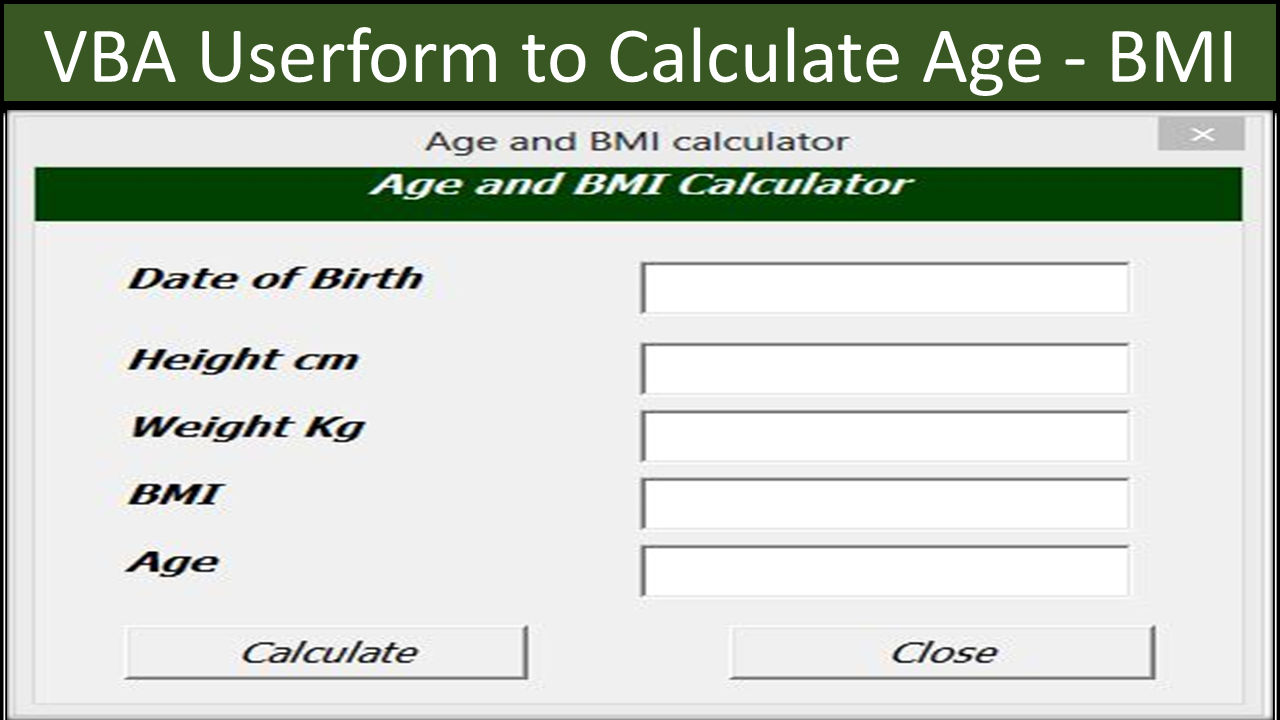 Excel Userform BMI and Age Calculator   Online PC Learning