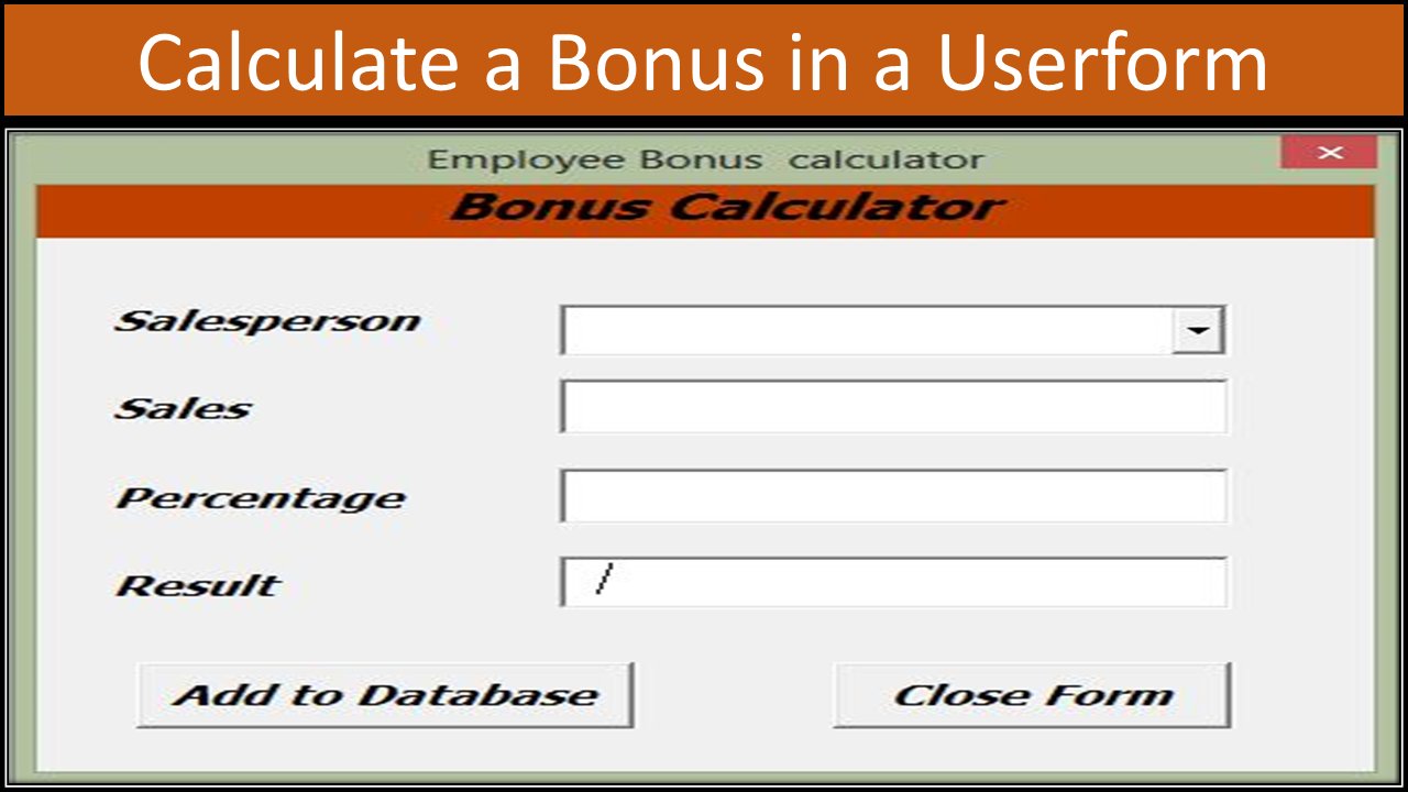 Excel Vba Bonus Calculator Online Pc Learning How To Calculate Bmi Equation