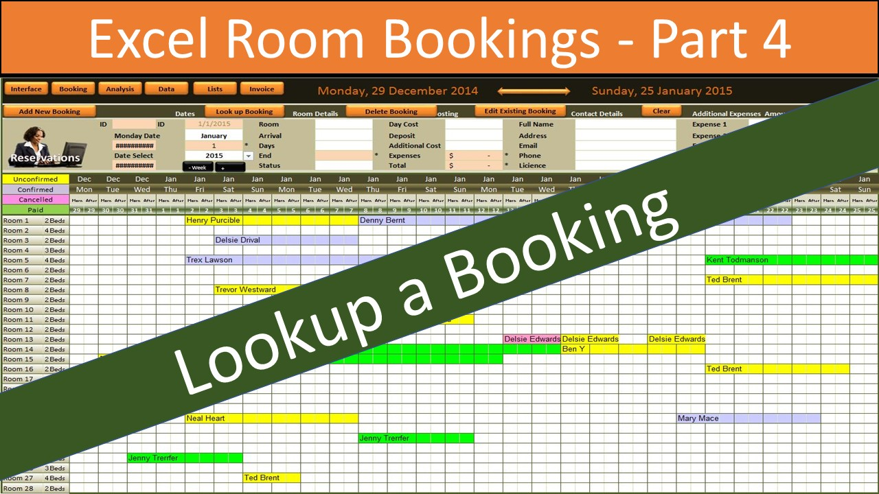 Excel Booking System Part 4 Online Pc Learning