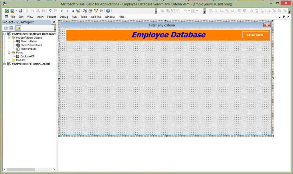 Userform Employee Database