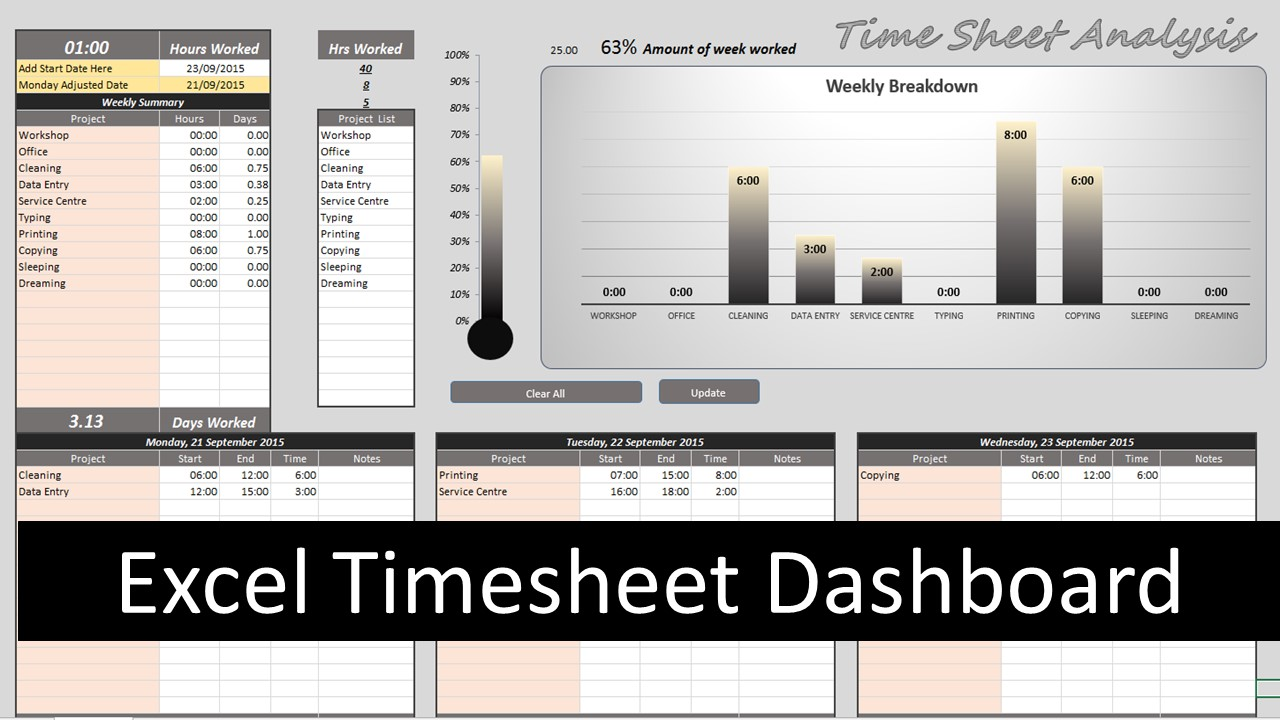excel timesheet dashboard online pc learning